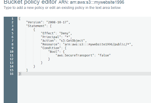 AWS S3 Bicket Policy Forcefully SSL Requests Only