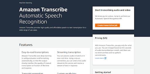 AWS Transcribe – speech recognition service