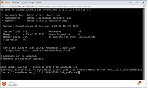 set up Plex Media server on Amazon LightSail