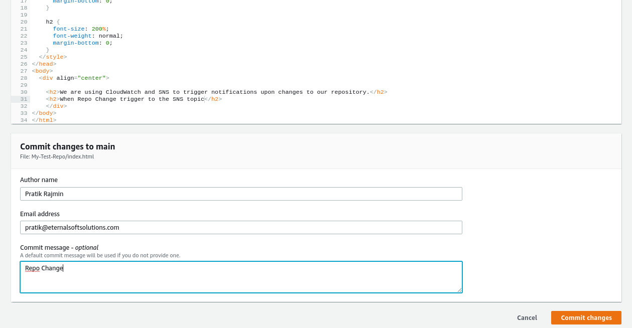 AWS CodeCommit Repository That Triggers Email Notifications