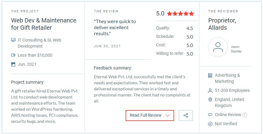 Eternal Web's Development Skills Reviewed on Clutch